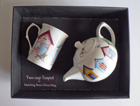 Beach hut 2 cup teapot,with matching bone china mug - gift boxed