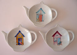 Beach Hut ceramic teabag tidy 3 different colour beach huts to choose from