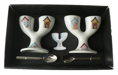 Beach hut double egg cups - 2 ceramic egg cups with spoons gift boxed
