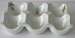 Beach hut design Ceramic 6 egg holder egg tray
