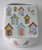 Utensil pot with tablet stand.Beach hut utensil holder with space for tablet