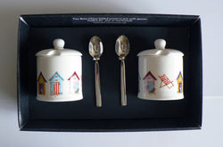 Beach Hut design Set of 2 bone preserve jars & spoons gift boxed