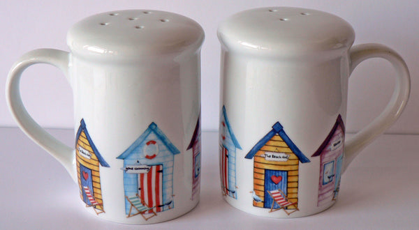 Beach hut design Salt and pepper shakers. Large simple shape with fun beach huts
