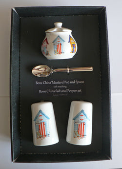 Beach Hut Salt & pepper pots & mustard pot & spoon gift boxed choice of colours
