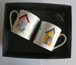 Beach Huts china Pint mugs Set of 2 gift boxed 2 full pint sized mugs gift boxed