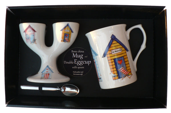 Beach hut Double eggcup with Egg Spoon and Bone China Mug Gift Boxed