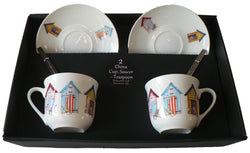 Beach hut pattern set of 2 cups and saucers gift boxed with teaspoons
