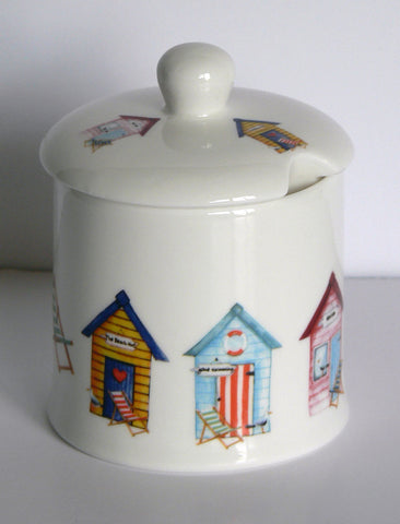 Beach Huts, bone china preserve, jam mamalade pot container