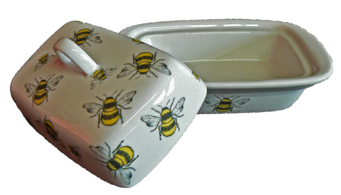 Bees colourful porcelain traditional deep white butter dish