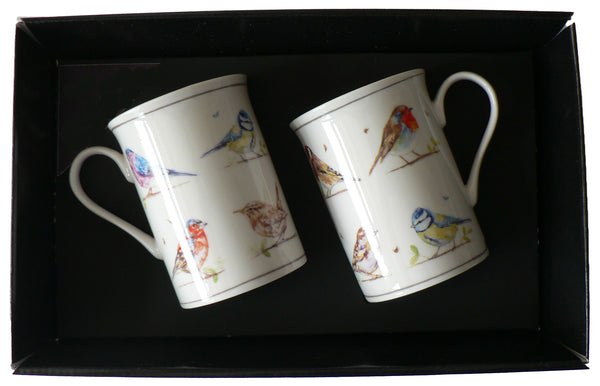 Bird Mugs Country Life Set Of 2 Gift Boxed in display tray shrink wrapped