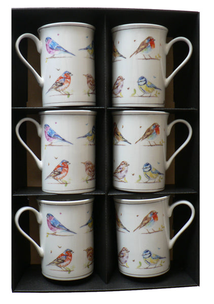 Bird Mugs Country Life Set Of 6 Gift Boxed in display tray shrink wrapped