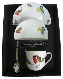 trio set. cup & saucer with teaspoon and matching tea plate gift boxed