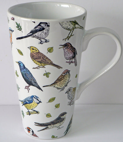 Garden Birds design ceramic large latte mug 3/4pt capacity