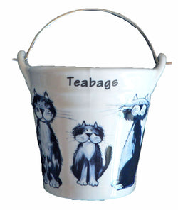 Blue cats Teabag tidy.Bucket, shaped used teabag pot, used teabag holder cute fun cats all round