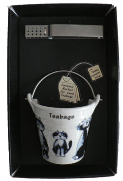 Blue Cat bucket shaped Teabag tidy & tongs in gift tray shrink wrapped