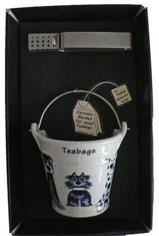 Blue dogs bucket shaped teabag tidy used teabag holder & tongs in gift tray shrink wrapped
