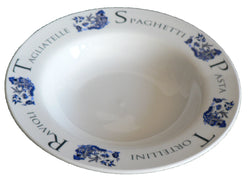 Small ceramic pasta bowl with blue willow pattern design 23cm  8.5""