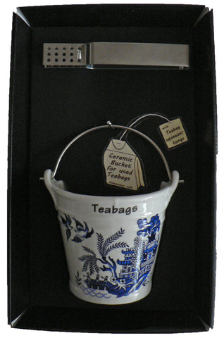 Blue willow pattern bucket shaped Teabag tidy used teabag holder & tongs in gift tray shrink wrapped