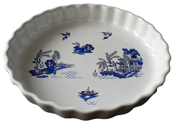Blue willow Pattern 25cm Ceramic flan Quiche Dish