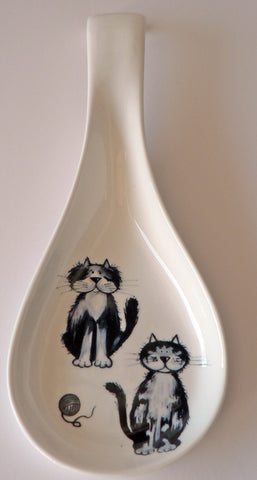 Blue cats white bone china Spoon. Large kitchen utensil rest with fun cats