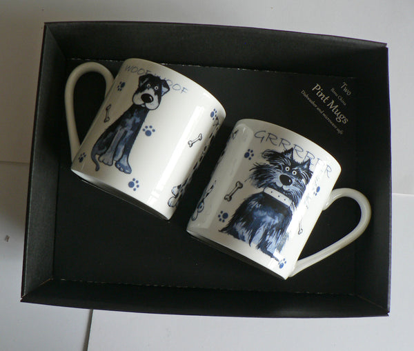 Dogs china Pint mugs Set of 2 gift boxed