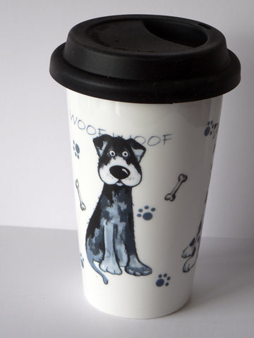 Scruffy Dog ceramic travel mug. Insulated double walled mug with silicone lid