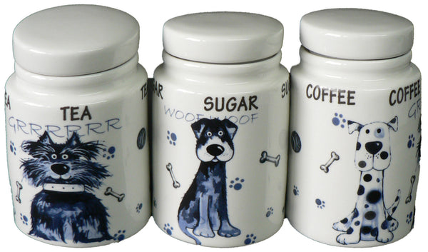 Dogs (Blue dogs)  Tea sugar and coffee storage jars - SMALL storage jars set of 3