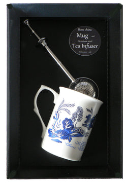 Blue willow pattern bone china mug with stainless steel tea infuser gift boxed