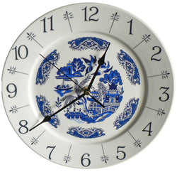 "Blue willow pattern design 10"" large ceramic wall clock"
