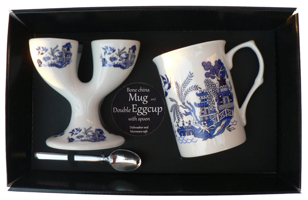 Blue willow pattern Double eggcup with Egg Spoon and Bone China Mug Gift Boxed