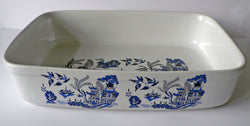 Blue willow rectangular ceramic roasting, pie, serving dish - choice of 3 sizes