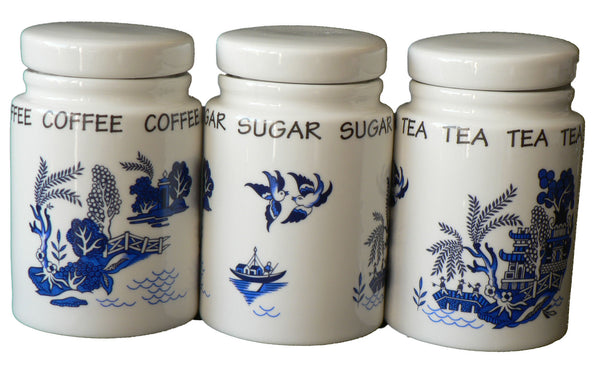 Blue willow pattern tea, sugar and coffee storage jars - SMALL storage jars set of 3
