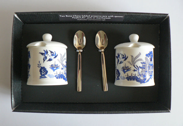 Blue willow preserve jars set of 2 in gift box.Fine bone china jars with spoons