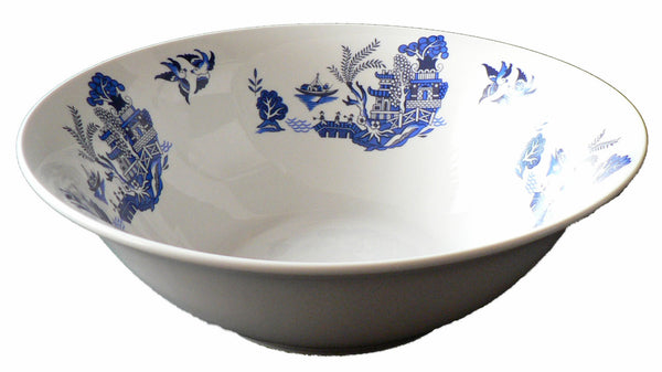 Blue willow pattern design 22cm ceramic salad bowl