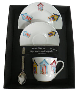 Beach hut pattern trio set. cup & saucer with teaspoon and matching tea plate gift boxed