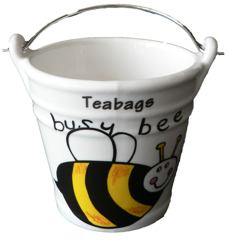 Bumble Bee Teabag tidy bucket. Bucket shaped used teabag pot, used teabag holder