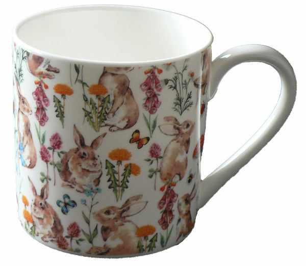 Rabbits, bunnies pint sized bone china mug