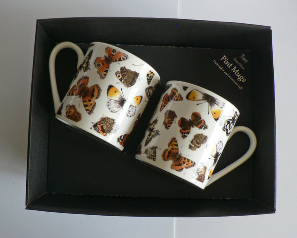 Butterfly chintz Pint mugs Set of 2 gift boxed 2 full pint sized mugs gift boxed