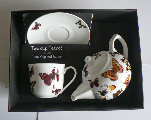 Butterfly 2 cup teapot,with cup and saucer gift boxed. cup,saucer teapot boxed