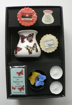 Butterfly oil burner gift set with shaped melts tealights,2 x yankee wax melts