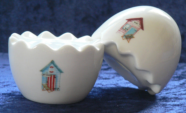 Beach Huts bone china stacking egg cruet set - salt & pepper set