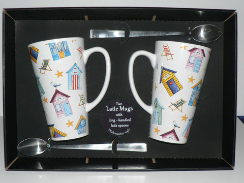 Pair of Beach Huts latte mugs with spoons gift boxed 3/4pt capacity