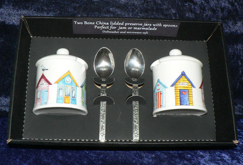 Set of 2 bone china Beach hut design preserve jars & spoons gift boxed