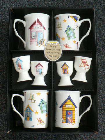 Beach Hut Bone china mugs and egg cups gift boxed set