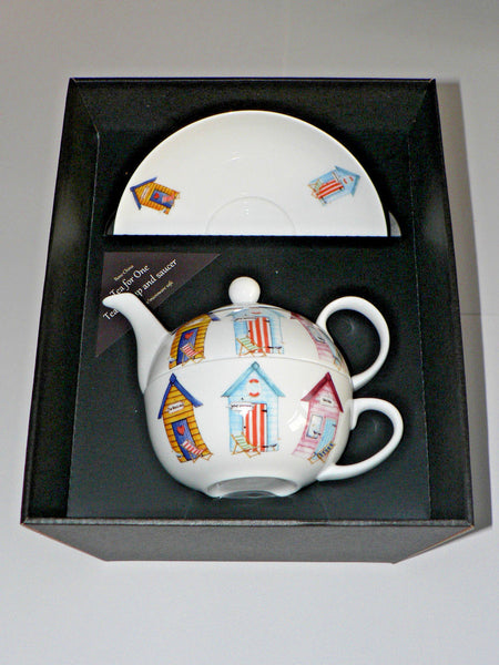 Beach Hut tea for one set Teapot cup and saucer gift boxed T41 Tea 4 1