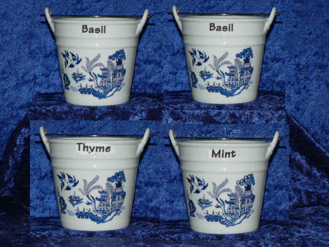 Blue willow design herb pot. Blue willow pot holder for herbs various to choose