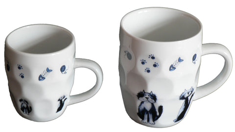 Cats design ceramic dimple tankard, pint or half pint mug,