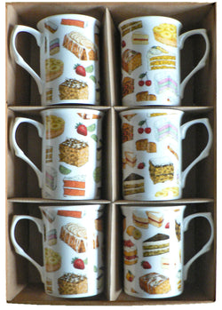 Cake chintz design Bone china mugs - set of 6 gift boxed. British bake off