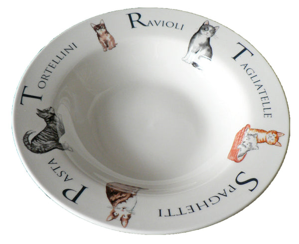 Small ceramic pasta bowl with cats design 23cm  8.5""