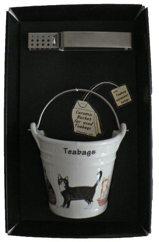 Cats & kittens bucket shaped Teabag tidy used teabag holder & tongs in gift tray shrink wrapped